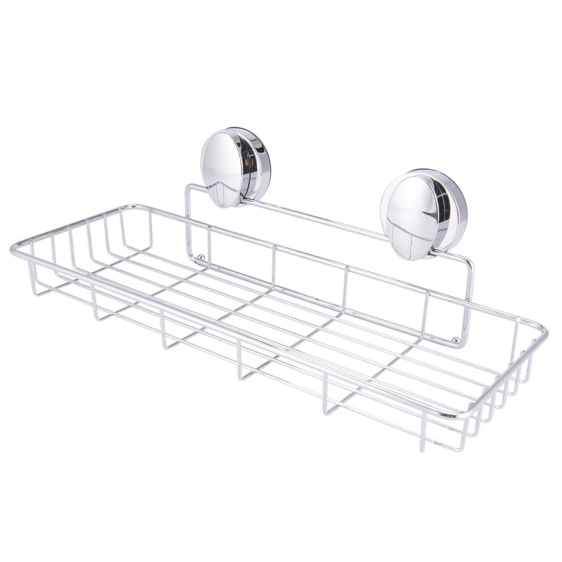 Super Vacuum Suction Cup Shower Caddy Basket, Rustproof Soap Dish Rectangle Basket Wall Shelves Shampoo Holder Organizer for Kitchen & Bathroom Storage, Chromed Finished