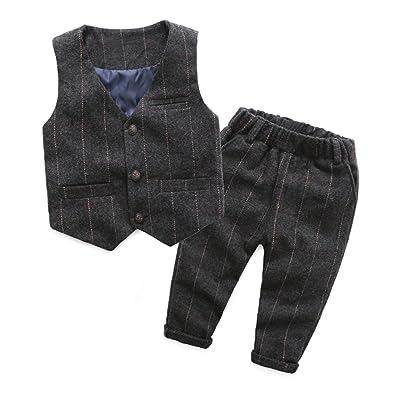 UWESPRING Boy's Spring/Fall Gentleman Suit Wool Plaid Vest+Pants Sets