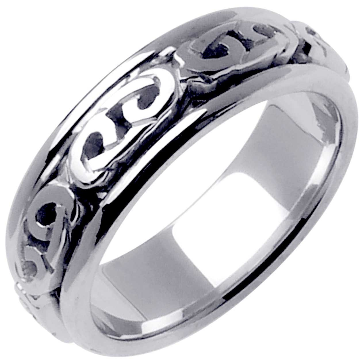 14K White Gold Celtic Love Knot Men's Comfort Fit Wedding Band (7mm) Size-9.25