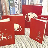 Rabbitgoo Christmas Cards 3D Pop Up Holiday Greeting Card Gift Card Assortment Set of 5 Gifts for Xmas