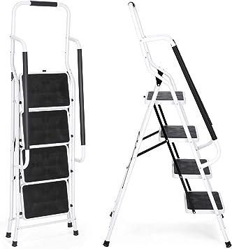 Escalera de 4 peldaños con pasamanos de seguridad, portátil, antideslizante, resistente, marco de hierro plegable, 150 kg de capacidad máxima: Amazon.es: Bricolaje y herramientas