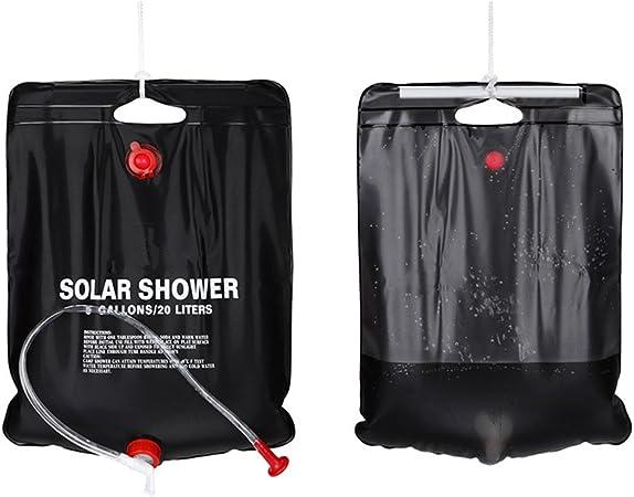 CFtrum Bolsa Ducha Solar 20L PVC Plegable Portátil para Camping Excursión Al Aire Libre Color Negro