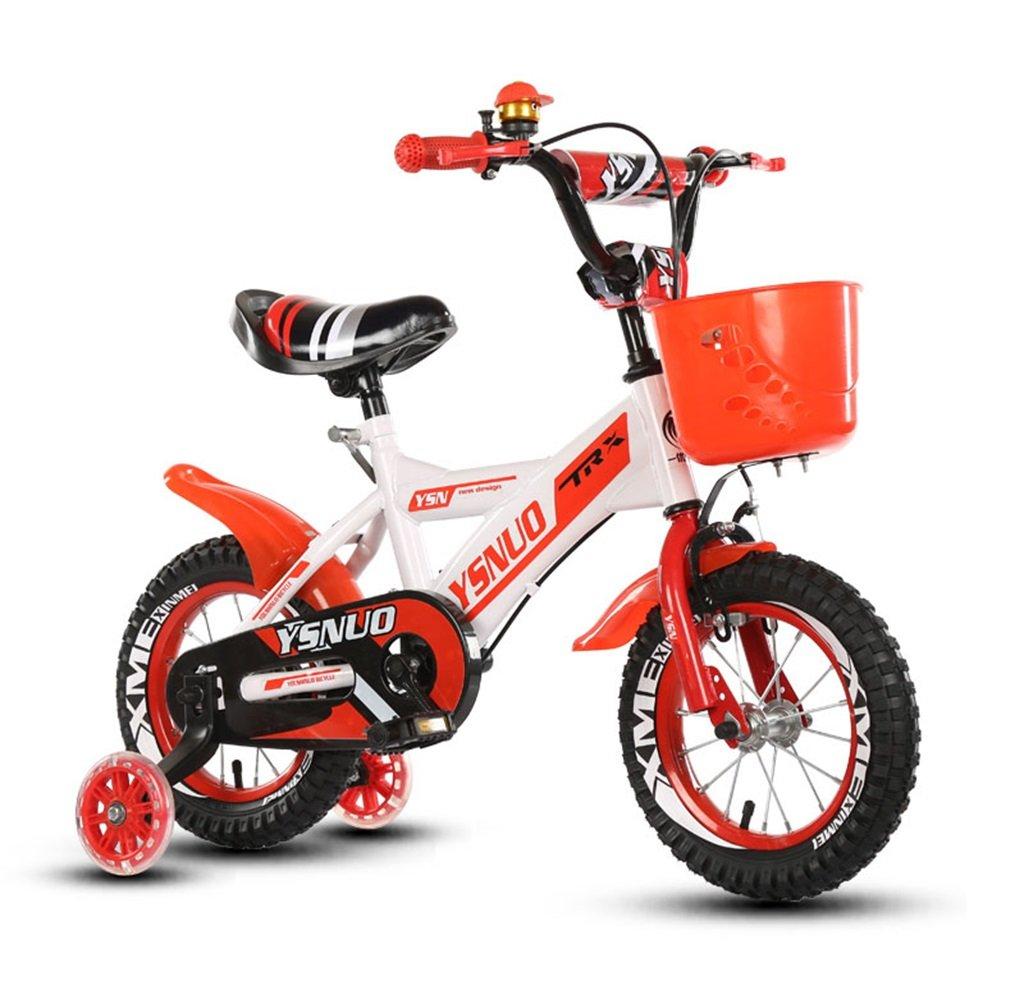 子供の自転車12|14|16|18インチアウトドアの子供ベイビーキッドマウンテンバイクフラッシュトレーニングホイールで2歳から10歳の男の子の女の子の贈り物|プラスチックバスケット安全な負荷50KG赤 B0789G8SMC 14 inches