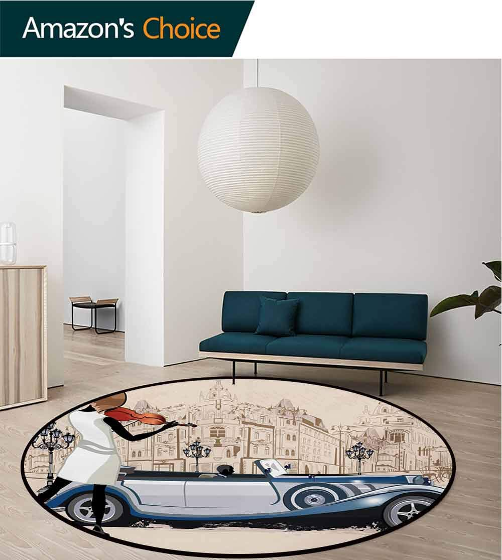 RUGSMAT Urban Modern Washable Round Bath Mat,Hand Drawn Illustration of Street Musician Retro Cars and Old Buildings Vntage Non-Slip Bathroom Soft Floor Mat Home Decor,Diameter-55 Inch by RUGSMAT (Image #2)