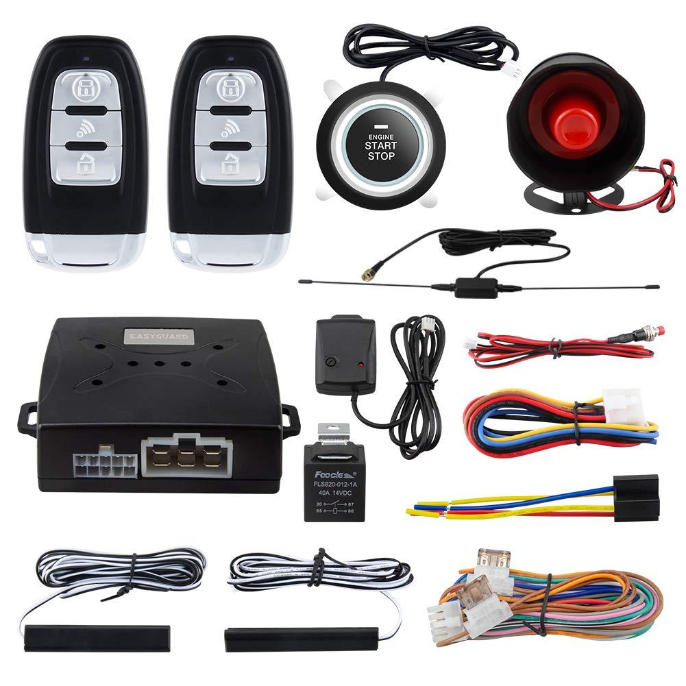 EASYGUARD EC003-NS PKE car Alarm Proximity Entry Push Start Button Remote Engine Start Shock Alarm Warning DC12V
