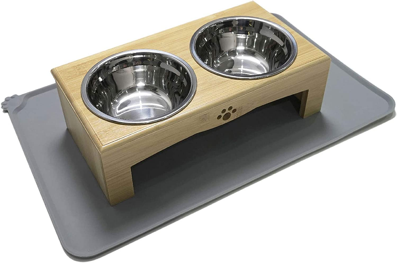 XKX Elevated Dog Bowls, Dog Bowl Stand Feeder with Silicone Mat for Small Dogs and Cats, Raised Dog Bowl, Dog Food Bowls with Stand, Pet Food and Water Bowls for Puppies and Kittens