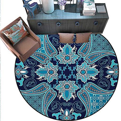 Navy Blue Home Decor Circle Area Rug Floral Paisley Design Bohemian Style Vintage Flower Petal Pattern Round Area Rug Carpet (59