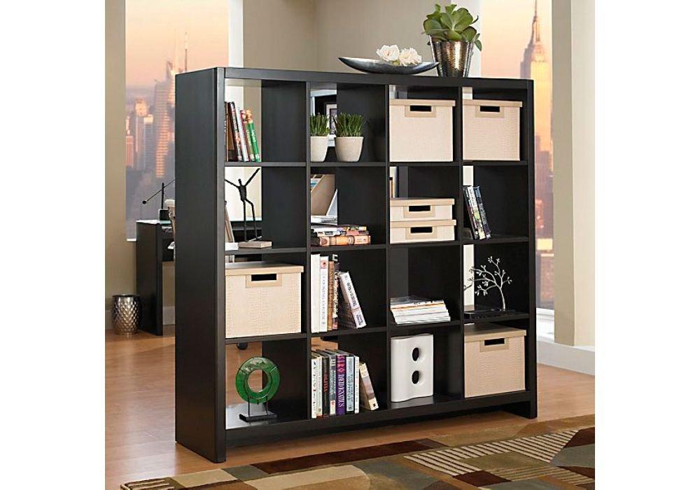 New York Skyline Bookcase Room Divider Dimensions: 61.625''W x 15.375''D x 60.25''H Weight: 229 lbs Modern Mocha