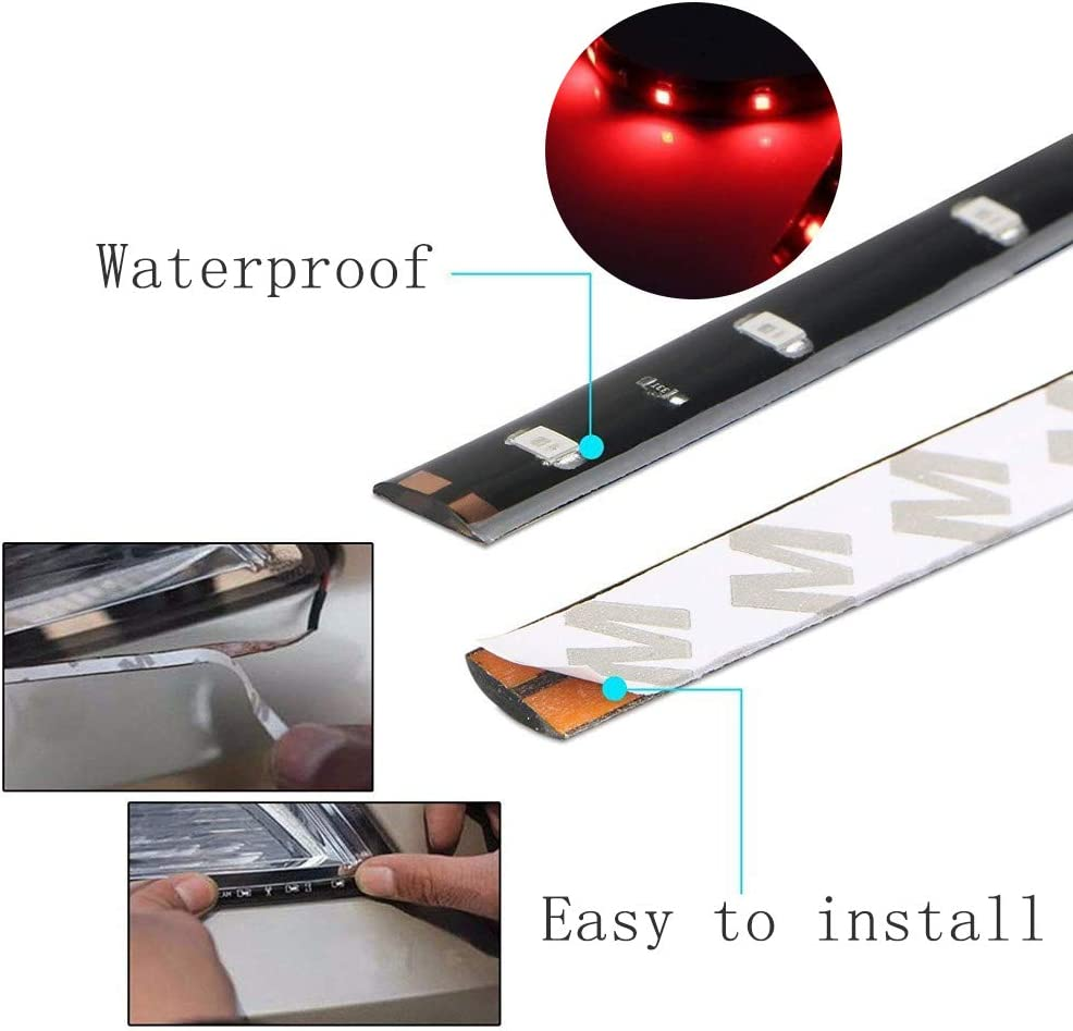 4 Pack Green 12v 15 Led 30cm Car Flexible Waterproof Underbody Light Strip Decoration