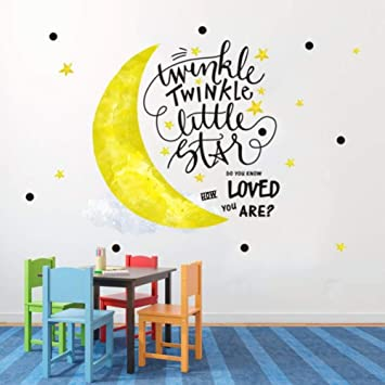 Inspirational Wall Decals for Kids Twinkle Star Quote Bedroom Wall Decor  Stickers Removable Nursery Vinyl Wall Art