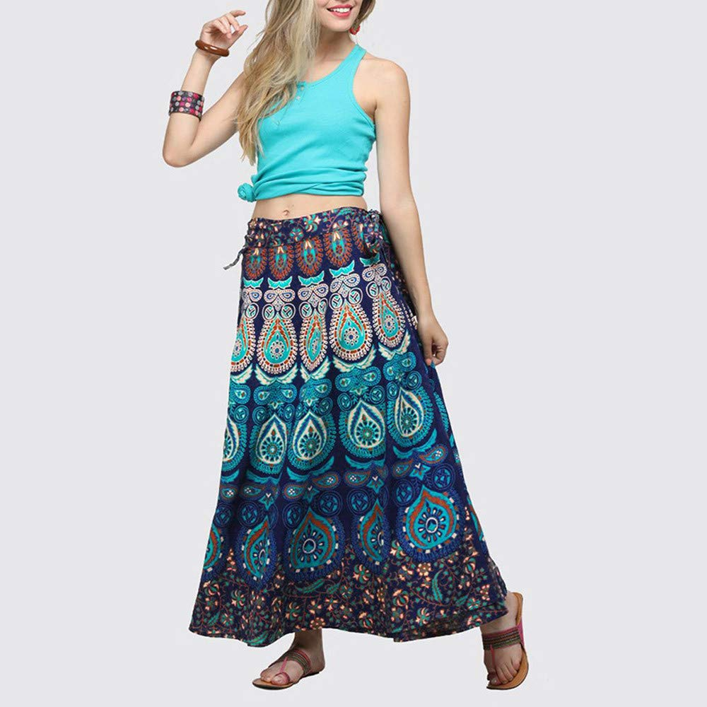 e48f0f18735 Teresamoon Women Casual Multicolor Feather Print Skirt Loose Boho Long  Bohemian Beach Skirt  Clothing