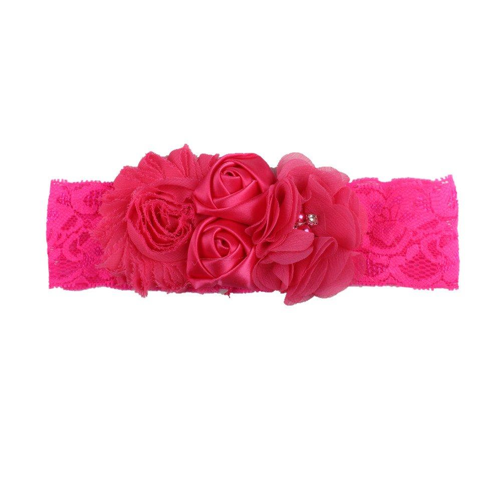 4 cm 1PC comodo design bambini fascia del bambino adorabile bambino Bow chiffon fiori fiore pizzo Jiont fascia per capelli nero Nero 18