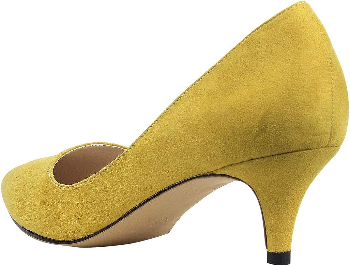 zpllsbratos Escarpins Su/éd/é Talon Moyen Aiguille 6 CM Confort Bout Pointu Femme Chaussure Talon Classique Simple El/égant
