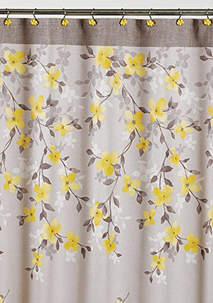 Merveilleux Saturday Knight Spring Garden Floral Fabric Shower Curtain, Gray