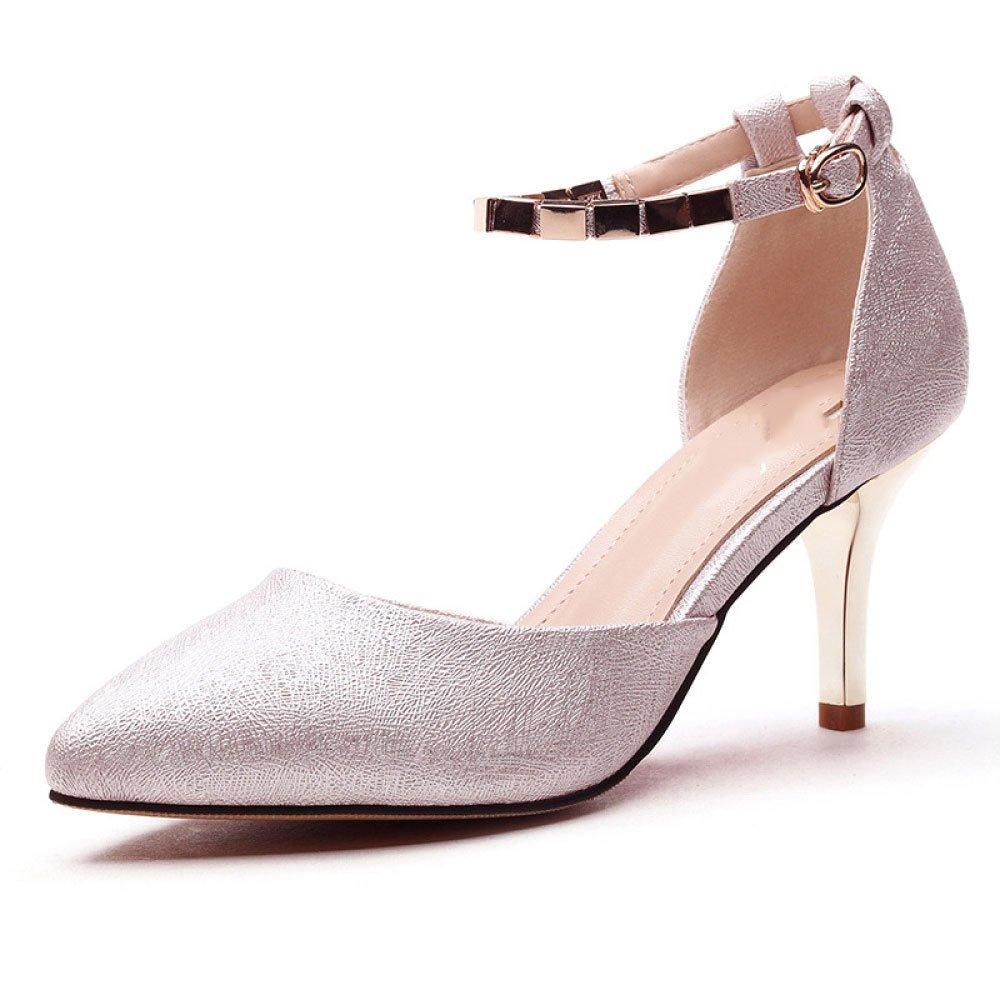 DKFJKI DKFJKI DKFJKI Frauen Spitzen High Heels Schnalle Sandalen Mode Damen Wild Kleider Sekt 20705d