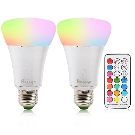 E27 RGBW Bombillas 10W LED Múltiples Colores Regulable Cambia larredo per lilluminazione. Pasa ...