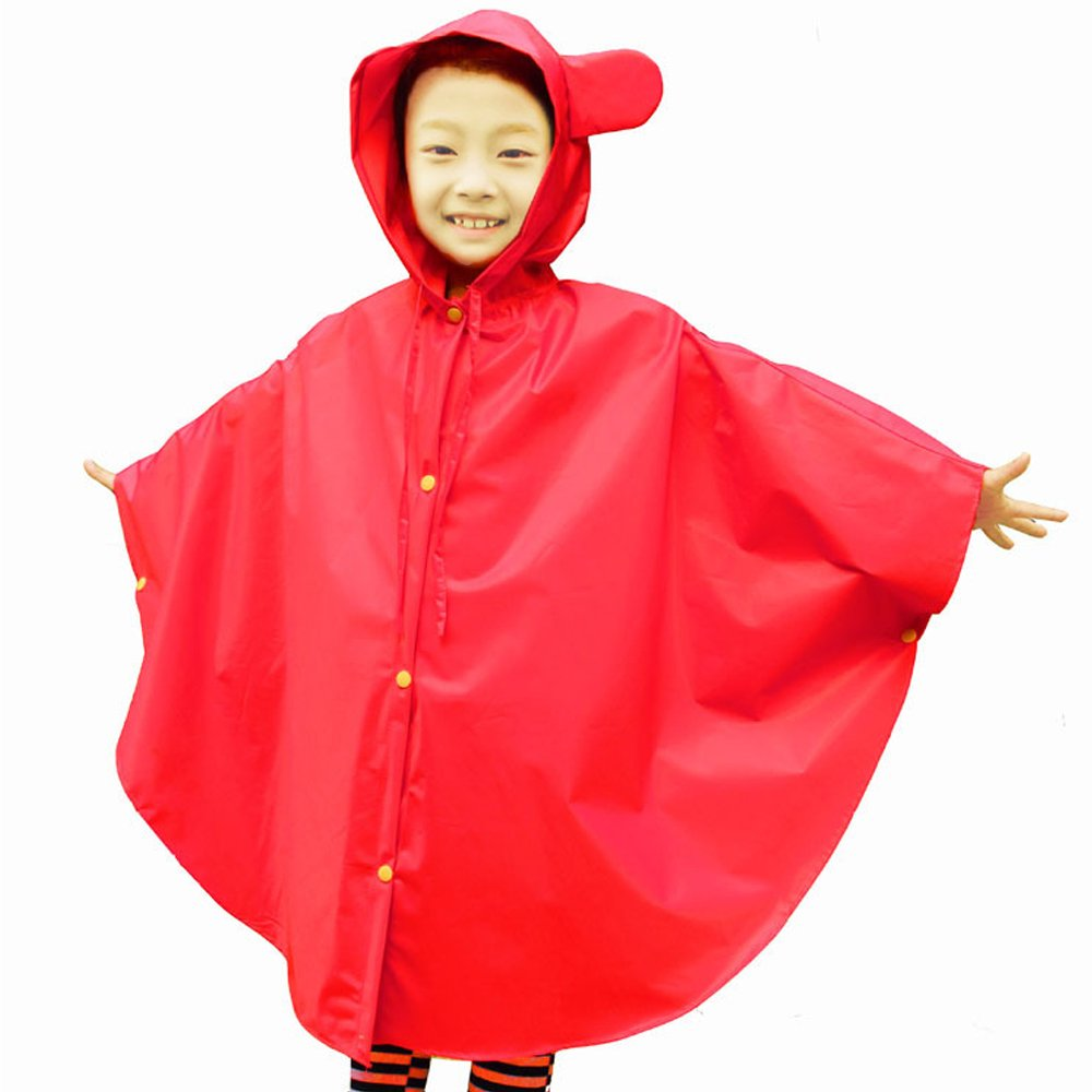 BOZEVON Kids Hooded Poncho Waterproof Raincoat Easy Carry Boys Girls Rainwear