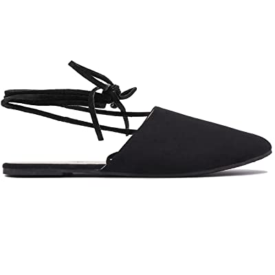 Lace Up Pointed Toe Mule - Classic Comfortable Ballet Flat - Cute Strap Loafer Shoe | Flats