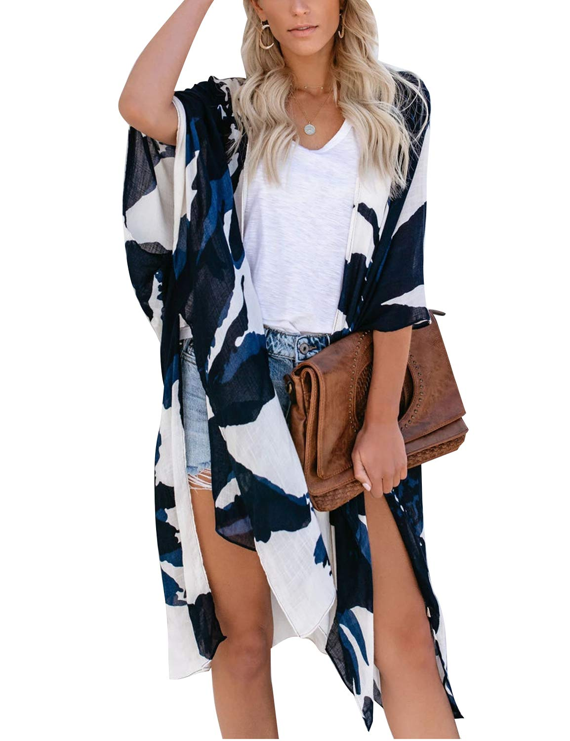 Women's Open Front Top Sexy Floral Kimono Sleeve Oversized Split Cover Ups