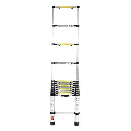 DEZIINE Telescopic Industrial Aircraft Grade Aluminium Ladder (12.5 ft/3.8 m)