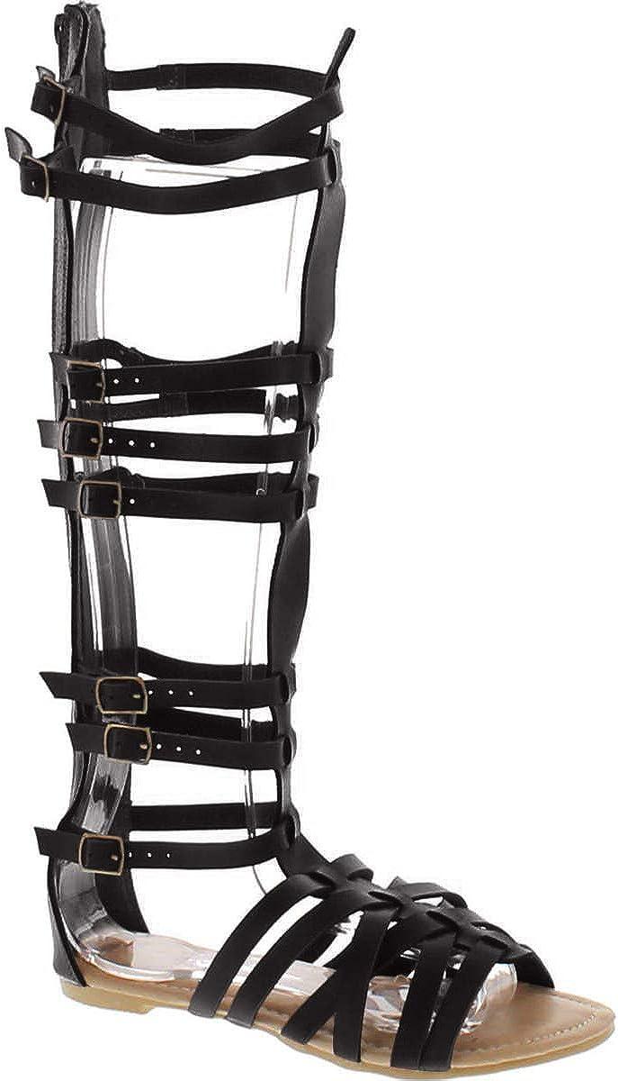 Black Knee High Gladiator Heels