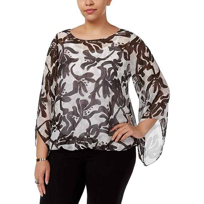 f95abd8ed3c6a Amazon.com  Alfani Womens Plus Printed Bell-Sleeves Pullover Top ...