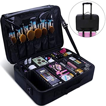 Amazon.com: Relavel Maquillaje Train Case 3 Capa ...