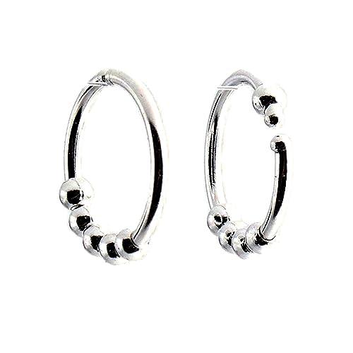 OP ART Earrings Beaded Hoop earrings Black and White Designer VintageFlowertop Jewelry Finds