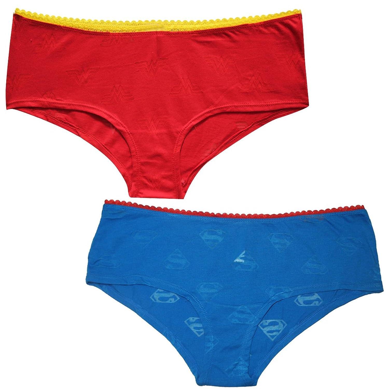 (Pack of 2) Womens WONDER WOMAN & SUPERGIRL Stretch Brief Panties