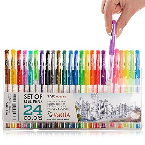 Colored Gel Pens Set for Kids, for Girls, for Adult Coloring - Glitter, Metallic, Sparkly Jell Pens - Spirograph Set Pens Arts and Crafts for Girls - Colorful Pens for Adult Coloring Book, 24 Colors (Best Colored Pens For Spirograph)