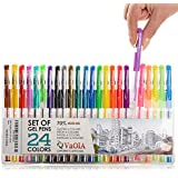 Colored Pens - Gel Pens - Adult Coloring Pens - Glitter Pens - Metallic Pens - Neon Pens - Pastel Pens - 24 pens 70% More Ink - Gel Pens for Coloring - Gel Pens for Kids - Gel Pens for Girls