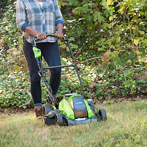 GreenWorks 19-Inch 40V Cordless Lawn Mower Extra Blade, 1 4Ah 1 2Ah Batteries and Charger Included 2519302AZ