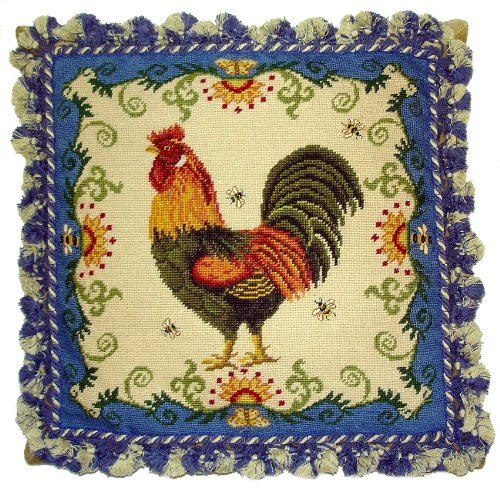 - Deluxe Pillows Rooster and Blue - 20 x 20 in. needlepoint pillow