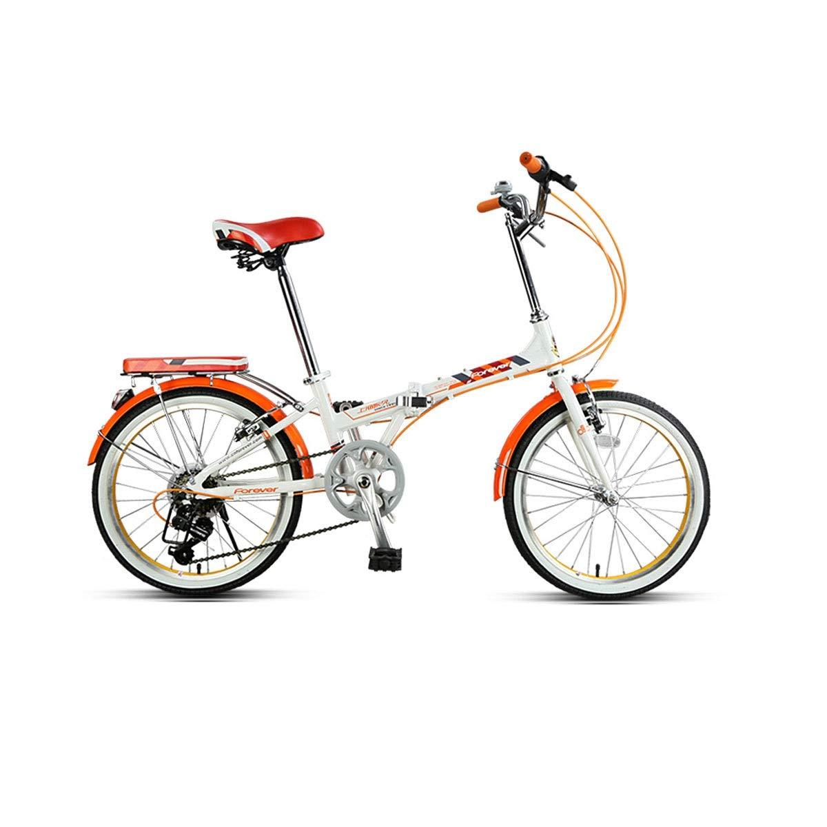 ロードバイク、折りたたみ自転車、成人女性超軽量ポータブル可変速自転車、アルミ合金 - 20インチ (Color : Orange, Size : 20 inches) 20 inches Orange B07QMJX3GN
