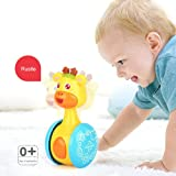 Baby Tumbler Toy, leegoal Cute Funny Rattle Giraffe Rattles Doll Roly-Poly Ring Bell Newborns 3-12 Month Early Educational Toy for Boys and Girls Birthday Gifts
