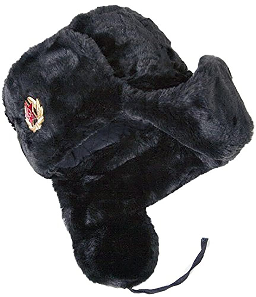 34bc3752 Cucuba® Original WAR HAT Black Cap Russian Ushanka Soviet for Winter Cold  with Russian Army Badge - Gift IDEA (Size: 62 Size XXL (EU)): Amazon.co.uk:  ...