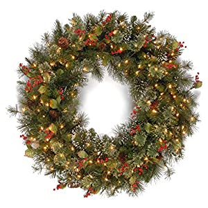 National Tree WP1-300-30W-1 Wintry Pine Wreath with Cones Red Berries Snowflakes and 100 Clear Lights 15