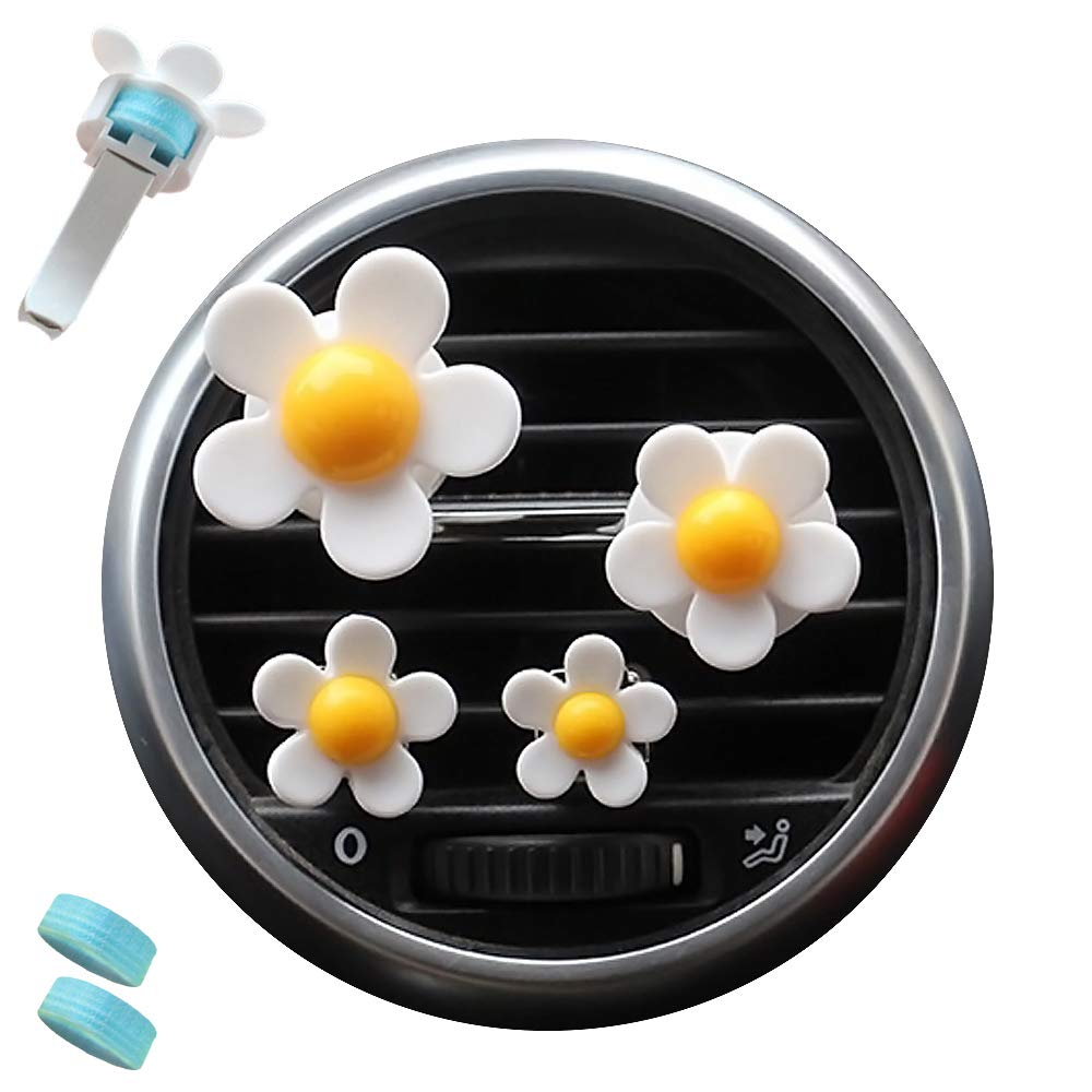 AdongTop 6pcs Car Air Vent Decoration-Car Charm Beautiful Daisy Flowers with Plastic and Two Balm,for Car, Home, Decor, Gift,Kid's(yellow)