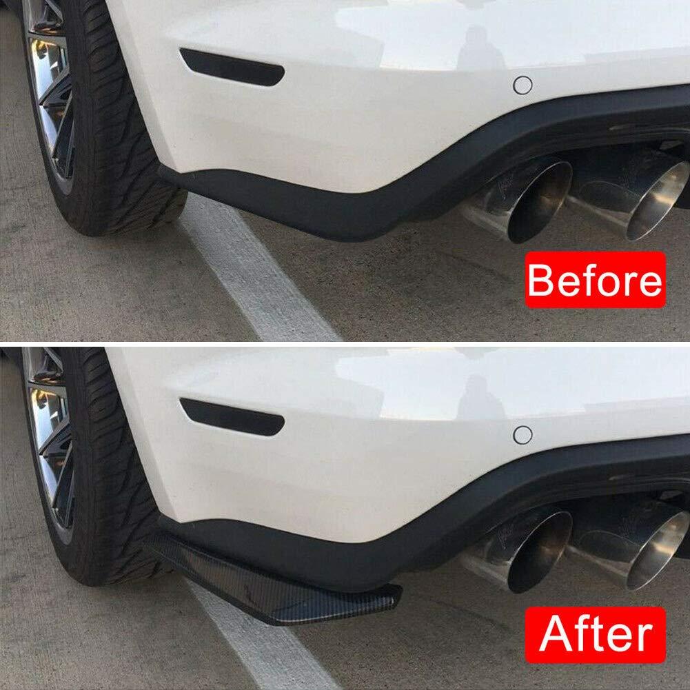 NZNNXN Universal Carbon Rear Bumper Lip Diffuser Splitter Canard Protector Pack of 2