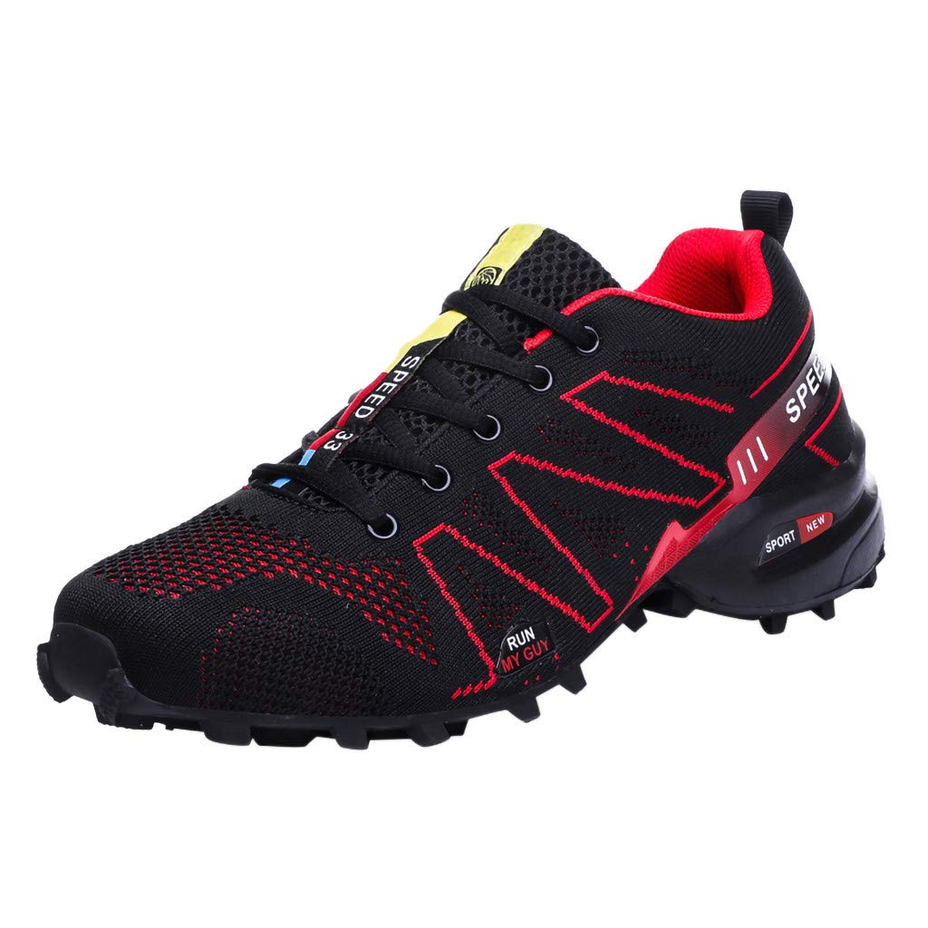 Men's Breathable Sneakers Ultra-Light Non-Slip Casual Shoes Mesh Classic Refined Athletic Shoes Plus Size US:5.5-11.5 (US:9, Red)