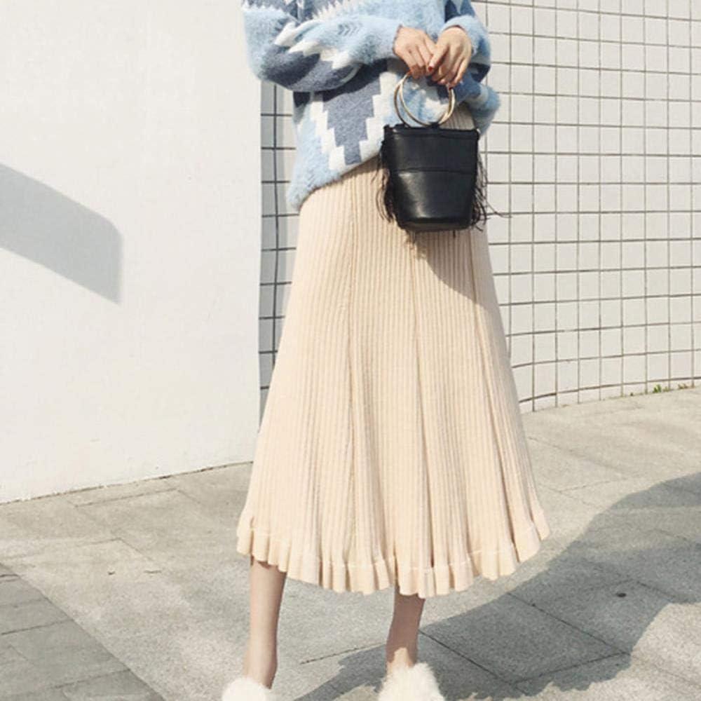 HSDFKD Falda Larga De Lana De Otoño Invierno para MujerFaldas Plisadas con Volantes Faldas Cálidas De Color Sólido De Punto Alto De Cintura Alta