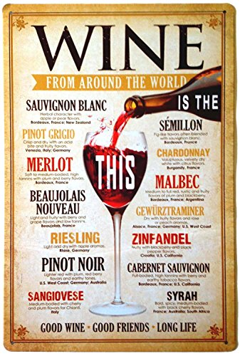ERLOOD Wine from Around The World Drinking Distressed Metal Bar Wall Plaque Retro Decor Poster Vintage Tin Sign 12 X 8