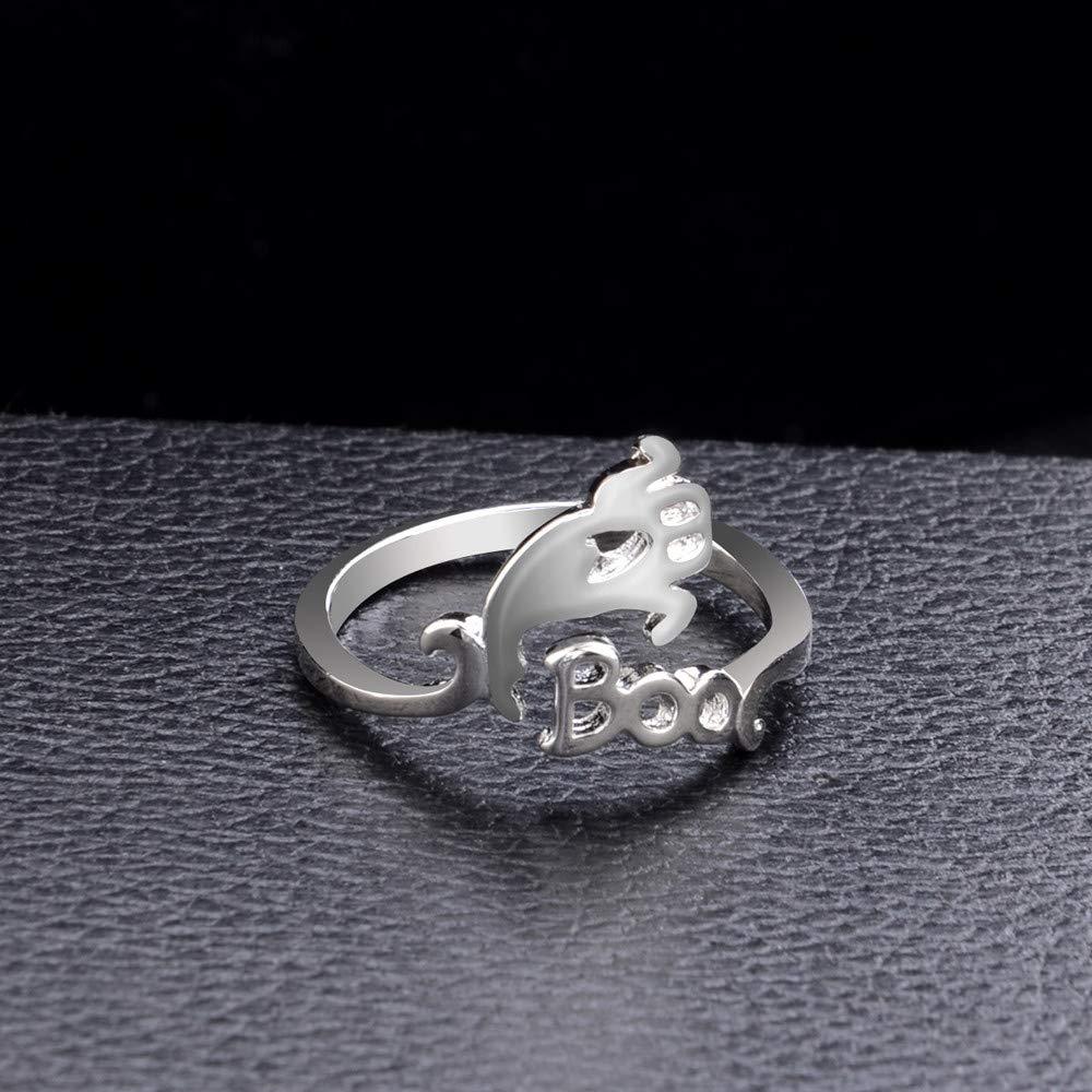 UK/_ Halloween Ghost Witch Broom Finger Ring Open Rings Women Men Cosplay Jewelry