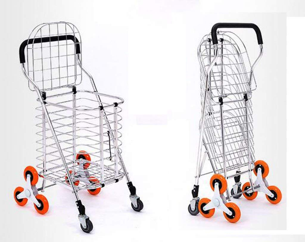 Portable Trolley, Metal Cart Shopping Trolley 3 Wheels Shopping Cart Large Shopping Bags Luggage Carts Can Climb Stairs Huge Capacity Metal Cover Baby Carriage Mobile Shopping Cart Baby Carriage by Zehaer (Image #2)