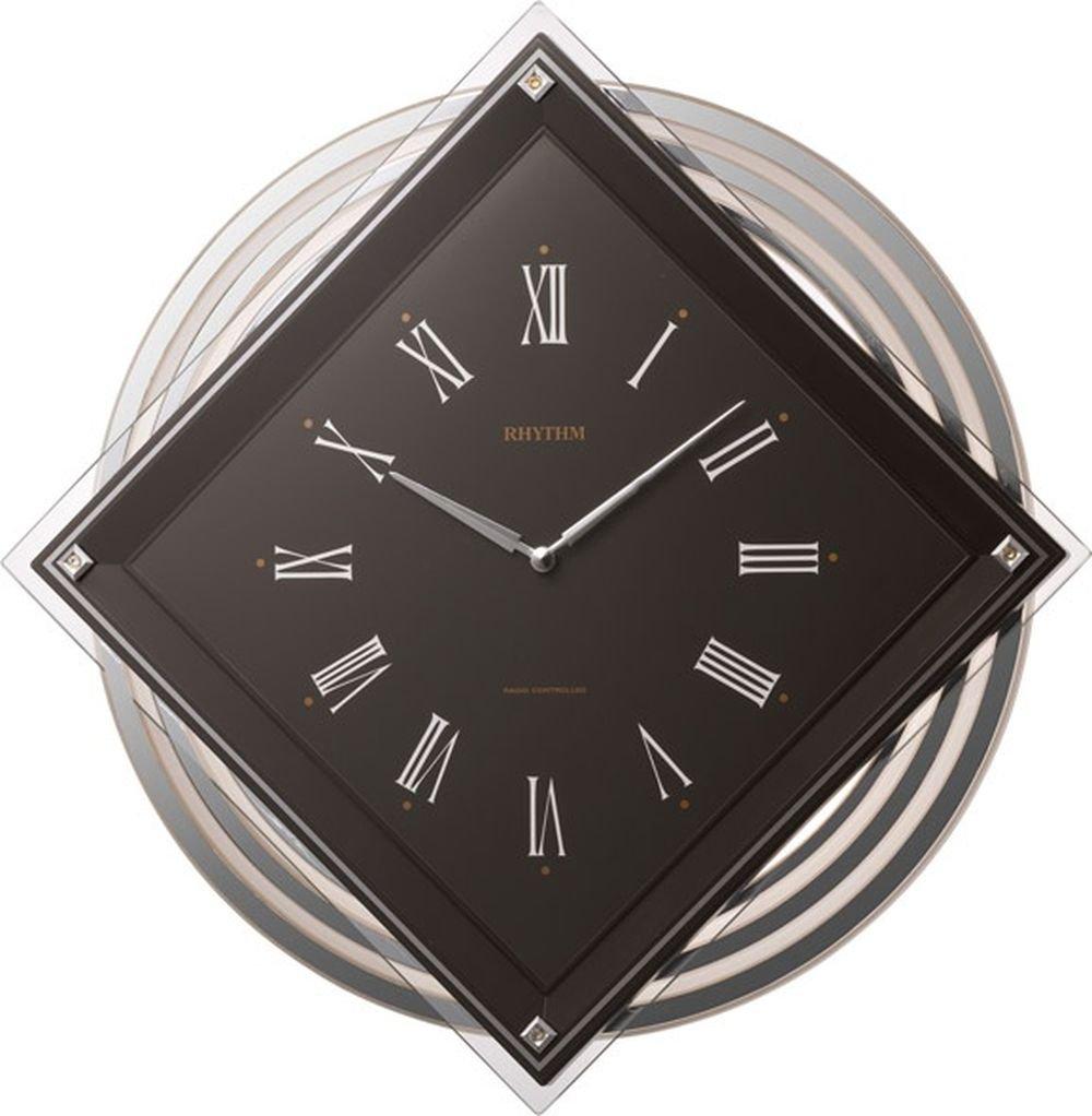 リズム時計 掛け時計 電波 アナログ ビュレッタ 背面丸型 振り子 クリスタル 飾り付き 茶 RHYTHM 4MX405SR06 B0194F89P4