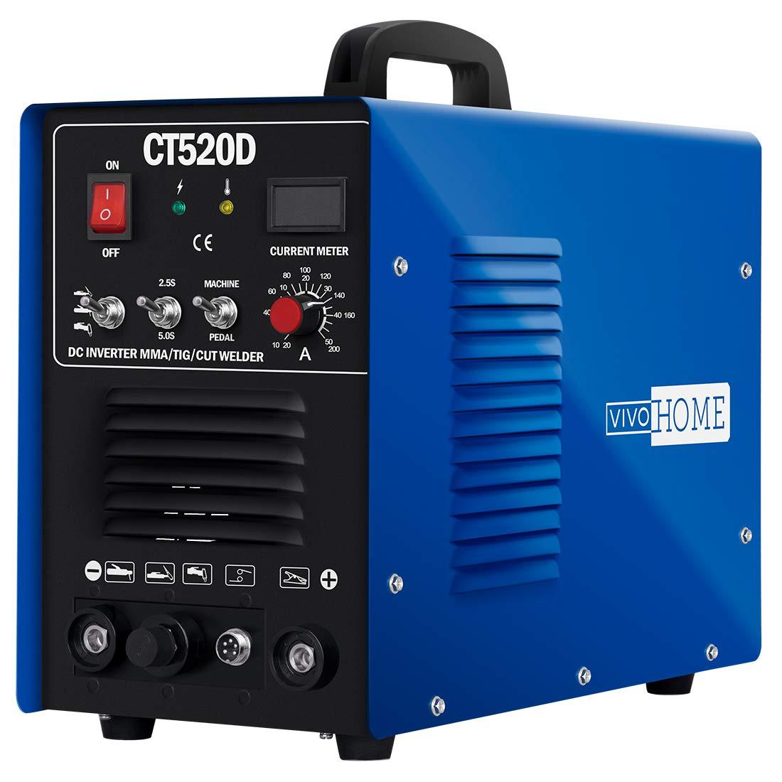 VIVOHOME 3 In 1 Multi-functional Plasma Cutter Cutting TIG STICK/MMA Welding Machine Dual Voltage 110/220V CT520D Blue