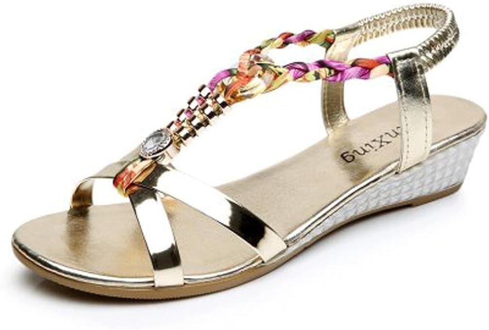 Amlaiworld Sandales Femmes /Ét/é Sandales Strass Sandales Plates Femmes Sandales Casual Mode Chaussures de Plage Confortables