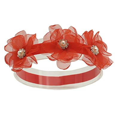 BABIES WHITE HEADBAND WITH RED AND WHITE FLOWERS 0-6months