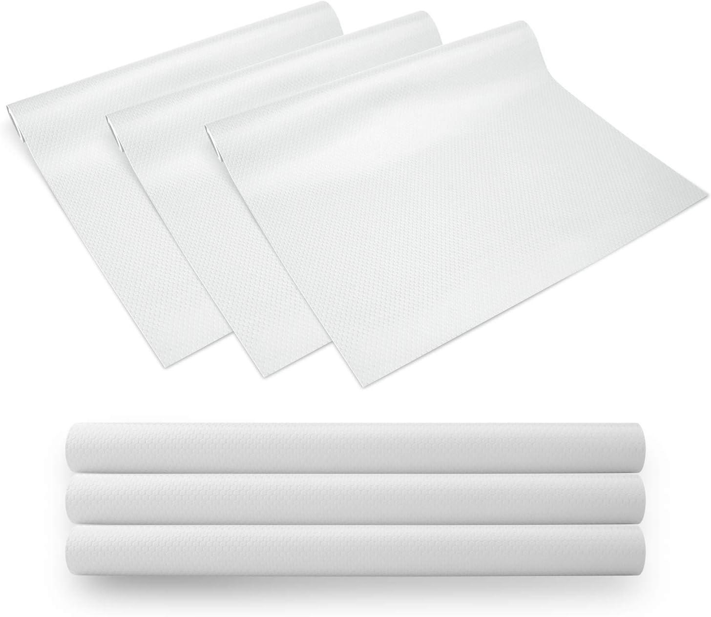 KONKY 3 Rollos EVA Protector Antideslizante Cocina, Estantes el gabinete Estera Cuttable, Impermeable Estera del refrigerador, Forro de cajón Reutilizable, 45 * 150cm, Blanco