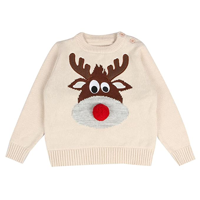 toddler baby girl boy christmas sweater cotton cable knit sweatshirt beige 80